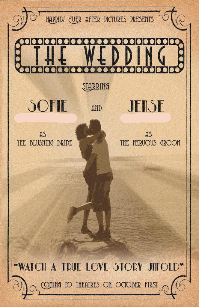 uitnodiging huwelijk thema film