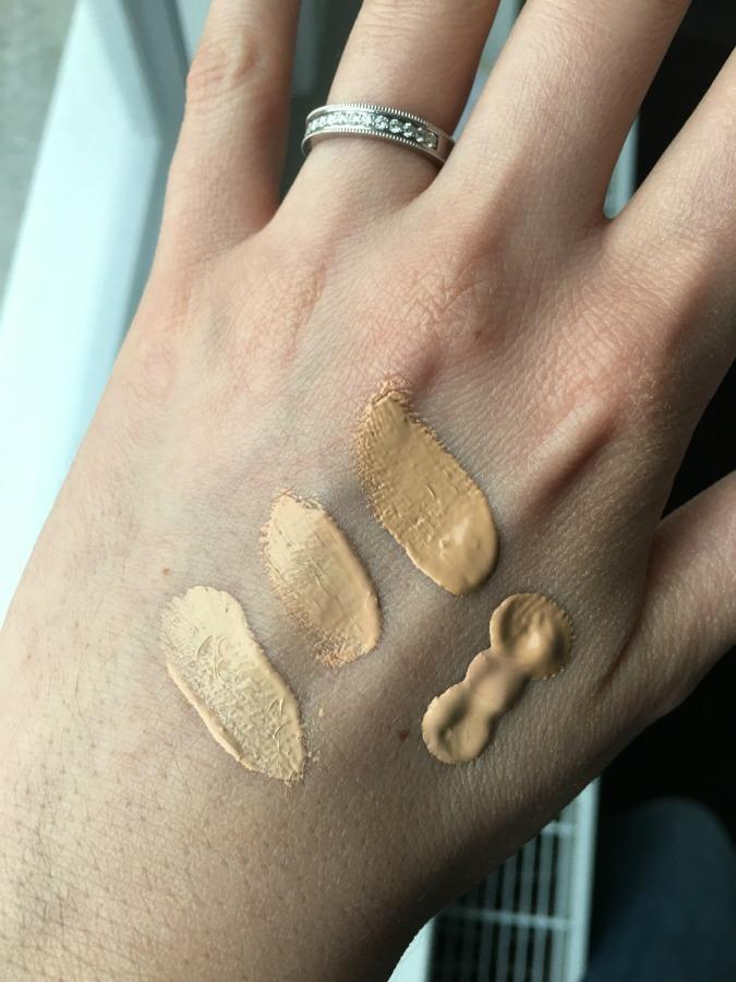 100 % pure foundation swatches peach bisque sand white peach