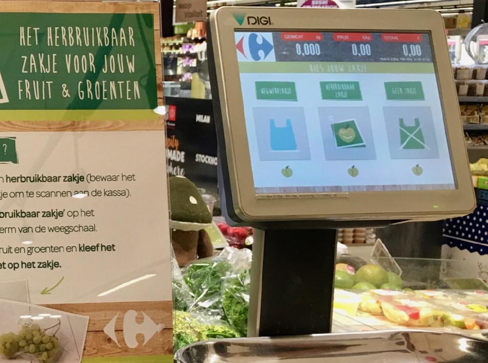 herbruikbare zakjes groenten en fruit Carrefour