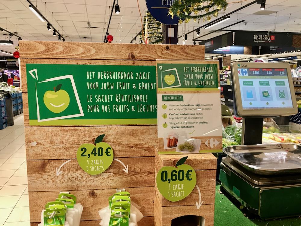 Afvalvrij winkelen bij Carrefour supermarkten met herbruikbare zakjes en bakjes