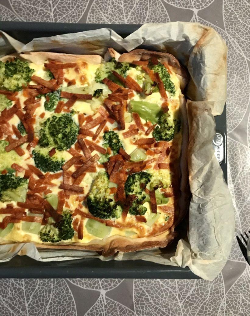 recept voor glutenvrije quiche met broccoli en vegetarische spekblokjes